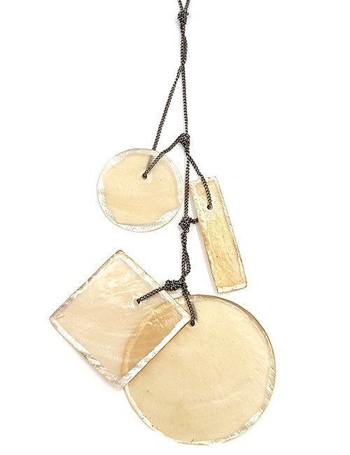 Marilyn, Italian Handmade Tinted Translucent Mother of pearl Edged with platinum paint, on a thin long chain Necklace