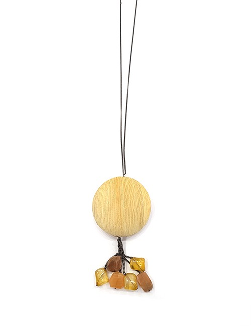 Marilyn, Italian Handmade Wood and Semi-Precise stone Long Necklace on Metal Thin chain