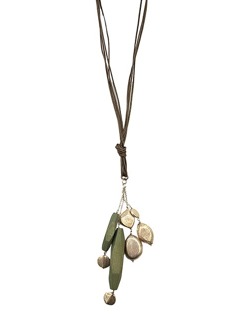 Marilyn, Italian Handmade Contemporary Necklace with Wood and Brushed Silver Geometric Drop on Leather Chain
