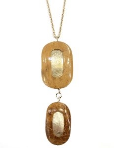 Marilyn, Italian Handmade Contemporary Drop of Wood and Plexiglass, Long Necklace on Chain