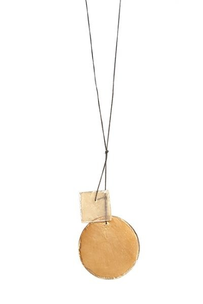 Marilyn, Italian Handmade Tinted Gold or Red, Translucent Mother of pearl Edged with platinum paint, on a thin long chain Necklace