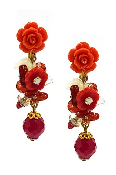 Marilyn Handmade France Classic France Style Earrings Flower and Glass Beads And Swarovski Crystal in Clip or Pierced
