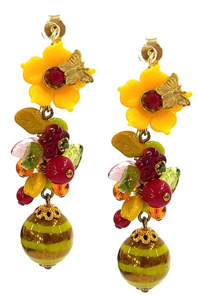 Marilyn Handmade France Classic France Style Pierced Earrings Flower and Butterfly