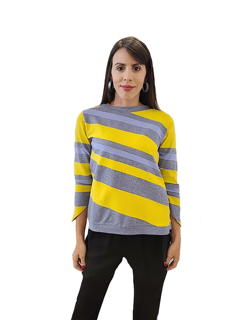 Marilyn Italian made Cotton, Metallic, and Lycra, diagonal Strip Knit Top