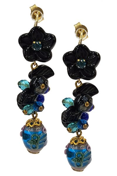 Marilyn Handmade France Classic France Style Pierced Earrings Flower and Beads