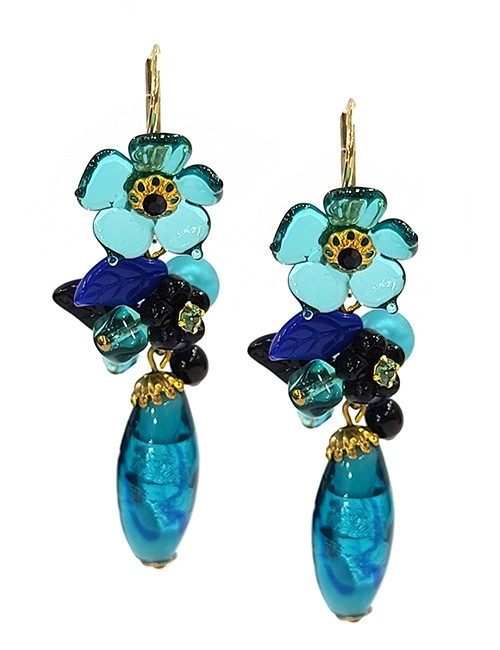 Marilyn Handmade France Classic France Style Pierced Earrings Flower and Glass Beads