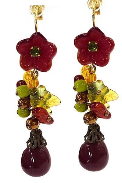 Marilyn Handmade France Classic France Style Pierced Earrings Flower and Glass Drop Beads