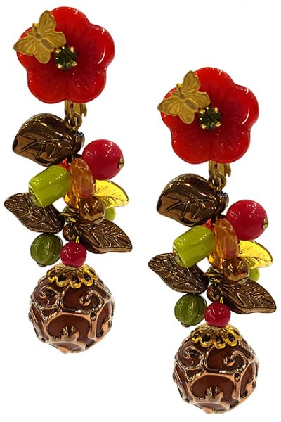 Marilyn Handmade France Classic France Style Clip Earrings Flower and Glass Ball Drop Beads and Swarovski Crystals