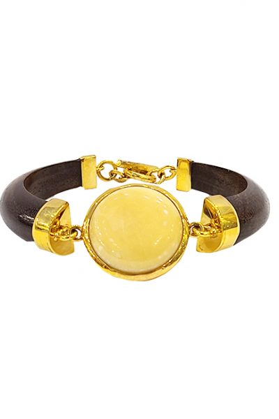 Marilyn Handmade Wooden Rosewood with 18ct Gold Plate Setting with Semi-precious Stone Bracelet