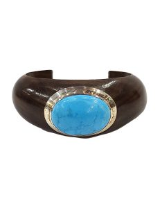 Marilyn Handmade Wooden Rosewood with Silver Plate Setting with Semi-precious Stone Bracelet