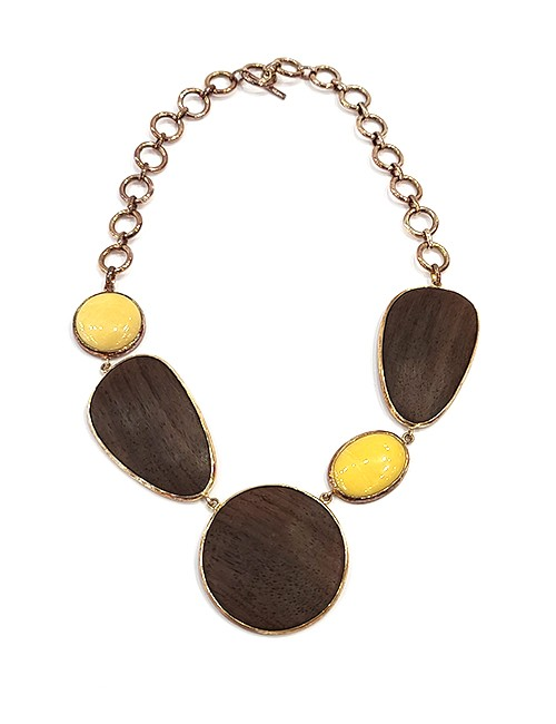 Marilyn Handmade Rosewood Wood, Semi-Precious stones and 18ct Gold Plated Settings and Chain Necklace