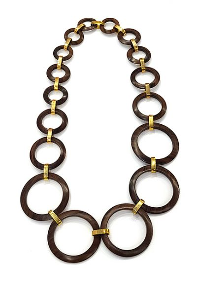 Marilyn Handmade Rosewood Wood and 18ct Gold Plated Links Necklace