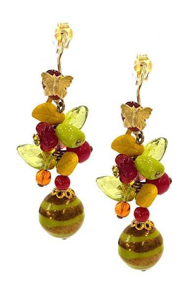 Marilyn Handmade France Classic France Style Pierced Earrings Butterfly and Glass Strip Ball Drop Beads Lime and Red Mix