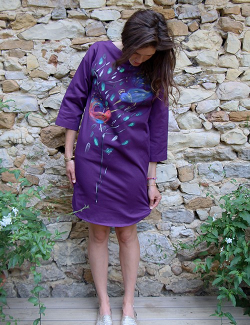 Marilyn France Loup-Maison original Hand painted Contemporary Bird in Branch Design, Stretch Cotton, Dress