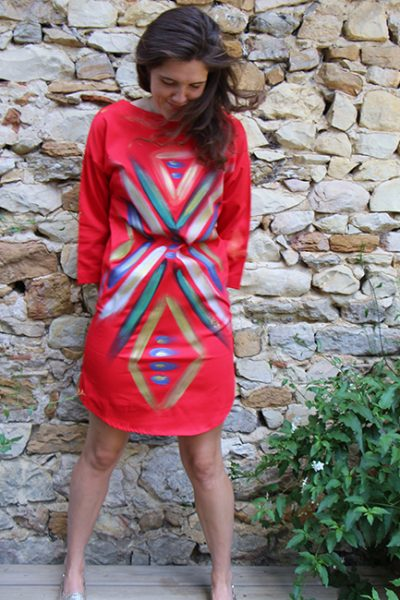 Marilyn France Loup-Maison original Hand painted Contemporary Body Flow Design, Stretch Cotton, Dress