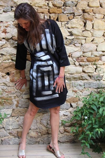 Marilyn French Loup-Maison original Hand painted Geometric Design, Stretch Cotton, Dress