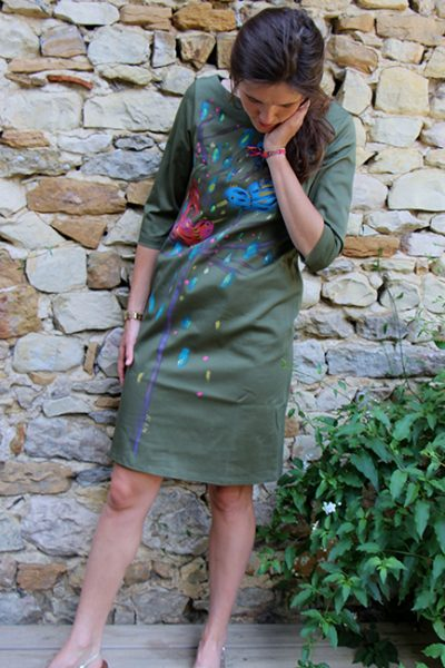 Marilyn France Loup-Maison original Hand painted Oiseau design, Stretch Cotton, Dress