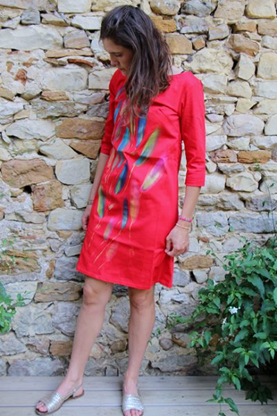 Marilyn France Loup-Maison original Hand painted Red Plume design, Stretch Cotton, Dress