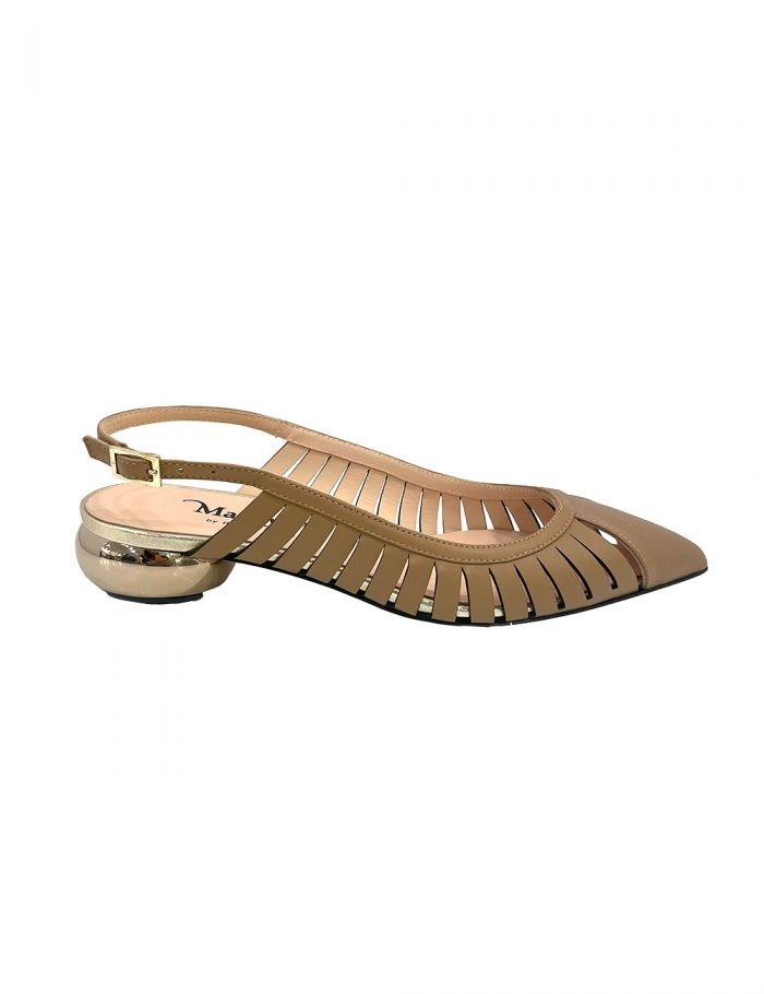 Marilyn's Leather Pointed Toe Sling Back Flat Shoes