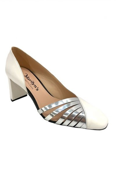 Marilyn's White Leather Square Toe Heels